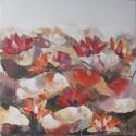 Tableau carré déco fleurs Nymphéas- 70x70 cm