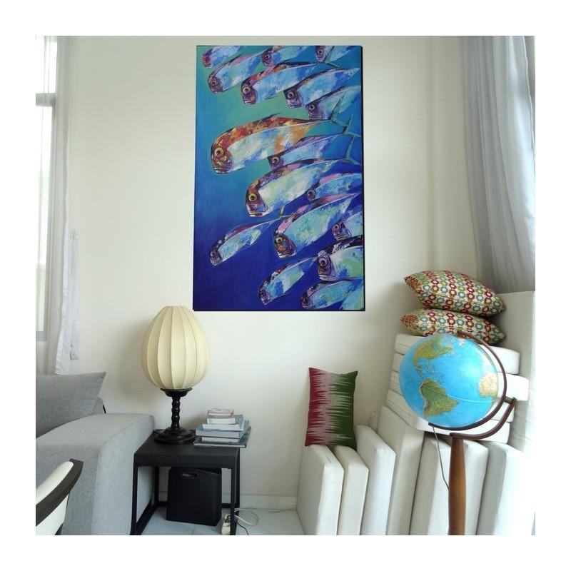 tableau d co marin poissons carangues 140x90 cm. Black Bedroom Furniture Sets. Home Design Ideas