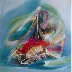 Peinture voilier abstrait turquoise- 60x60 cm