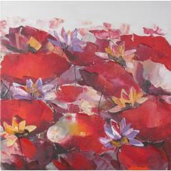 Tableau carré déco fleurs rouges- 70x70 cm