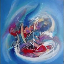 Peinture voilier abstrait bleu- 60x60 cm