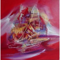 Peinture voilier abstrait rouge- 60x60 cm