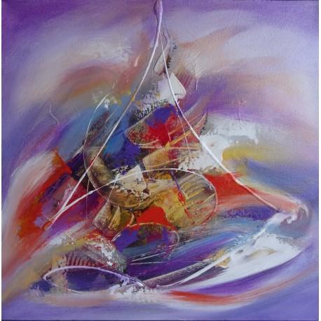 Peinture voilier abstrait violet- 60x60 cm