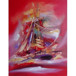 Peinture déco navire abstrait rouge - 70x55 cm