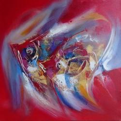 Peinture déco poisson abstrait fond rouge - 70x70 cm