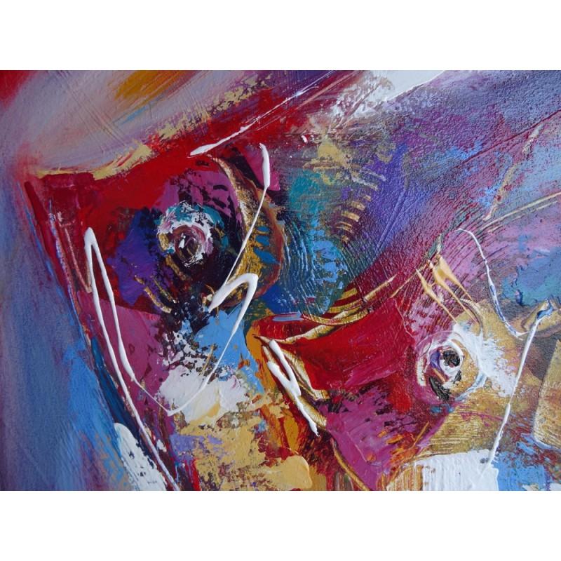 Peinture d co poisson abstrait fond rouge 70x70 cm for Deco poisson rouge