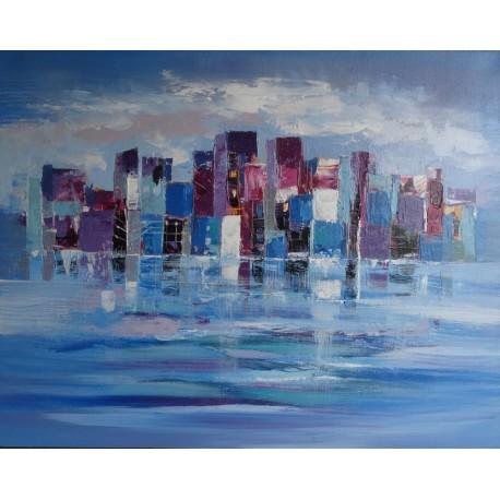 Tableau ville moderne sur mer- 100x80 cm