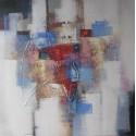 TABLEAU ABSTRAIT  STYLE CONTEMPORAIN BLEU-BLANC- 100x100 cm