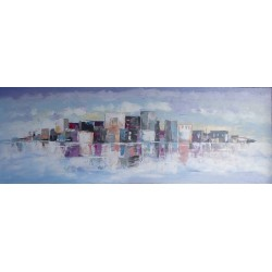 Tableau ville moderne horizontal- 140x50 cm