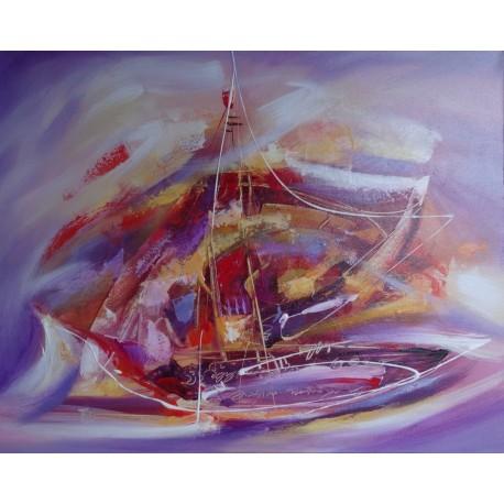 Peinture abstraite bateau sur fond mauve-violet - 100x80 cm