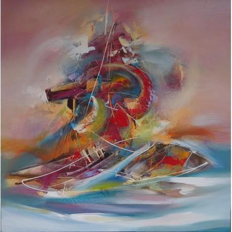 Peinture abstraite bateau sur fond rose saumon - 100x100 cm