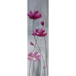 Tableau vertical fleurs pavots roses - 140x40 cm