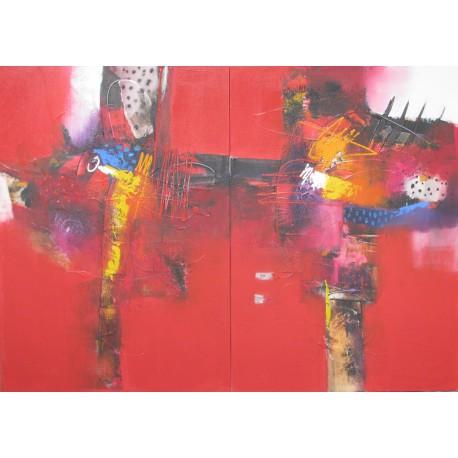 TABLEAU ABSTRAIT CONTEMPORAIN-DIPTYQUE A DOMINANTE ROUGE- 140x100 cm - Sumadi