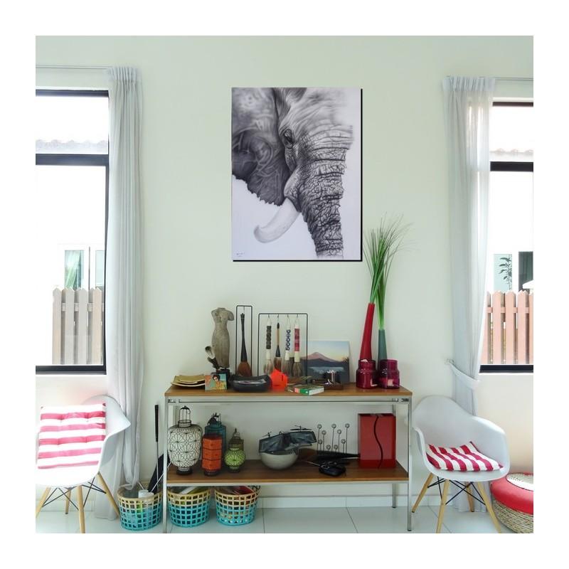 tableau t te d 39 l phant 120x90 cm tableau unique. Black Bedroom Furniture Sets. Home Design Ideas