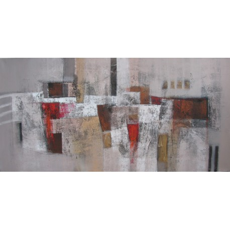 Tableau abstrait panoramique grand format ton brun - 200x100 cm - Suwitra