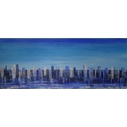 Tableau deco ville ton bleu- 100x40 cm