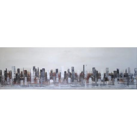 Tableau ville moderne blanc-gris - 120x38 cm