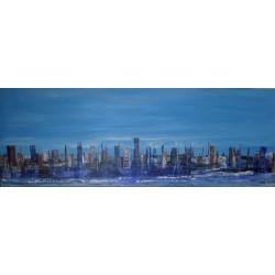 Tableau ville horizontal bleu- 140x50- Suarsa