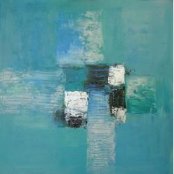 Tableau contemporain abstrait carré bleu turquoise- 50x50 cm