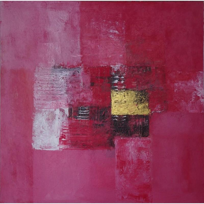 Tableau abstrait contemporain ton rose fonc 50x50 cm for Tableau abstrait gris et rose