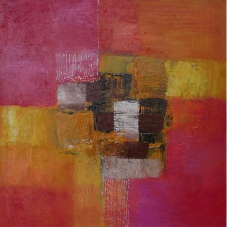 Tableau abstrait ton rose-jaune - 40x40 cm