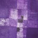 Tableau abstrait contemporain ton violet - 50x50 cm