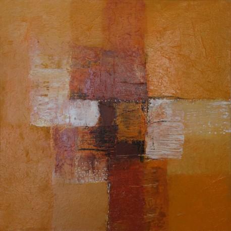 Mini tableau abstrait contemporain ton brun-orange - 40x40 cm