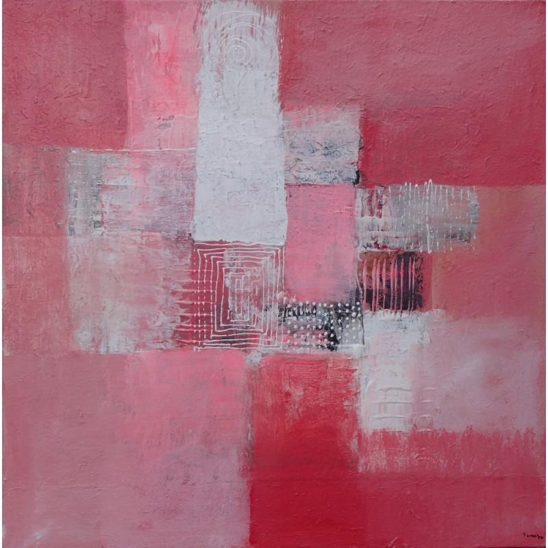 Petit tableau abstrait rose et blanc 50x50 cm - Tableau gris et rose ...