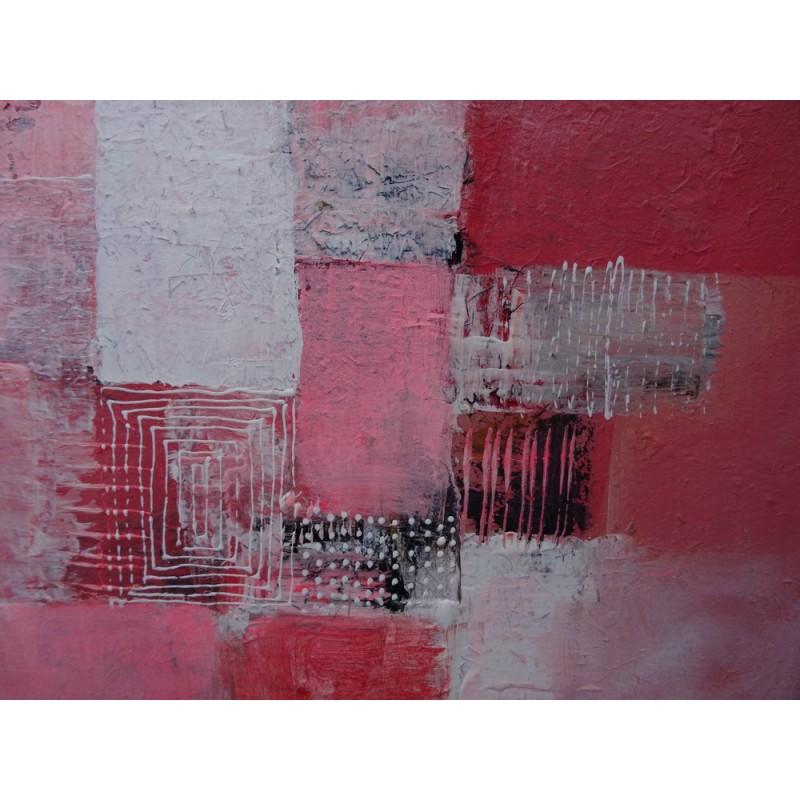 petit tableau abstrait rose et blanc 50x50 cm. Black Bedroom Furniture Sets. Home Design Ideas