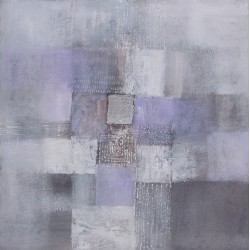Tableau abstrait déco tendance gris- 90x90 cm