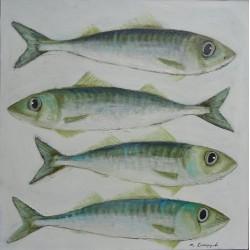 Peinture maquereaux sur fond blanc- 80x80 cm