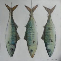 Peinture de Bonites suspendues- 90x90 cm