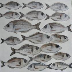 Peinture décorative banc de poissons sur fond blanc- 100x100 cm