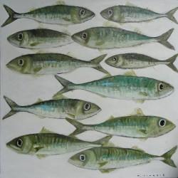 Peinture tableau poissons- Déco cuisine- 100x100 cm