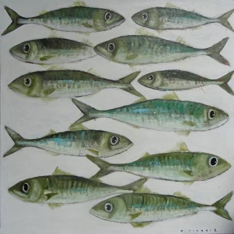 Tableau poissons verts, maquereaux fond blanc, 100x100 cm
