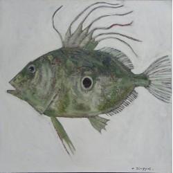 Peinture figurative poisson Saint-Pierre- 80x80 cm