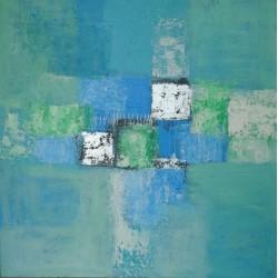 Tableau moderne contemporain bleu turquoise- 70x70 cm