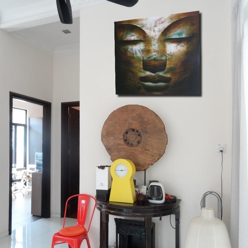 tableau bouddha peinture l 39 huile format 100x90 deco chambre zen. Black Bedroom Furniture Sets. Home Design Ideas