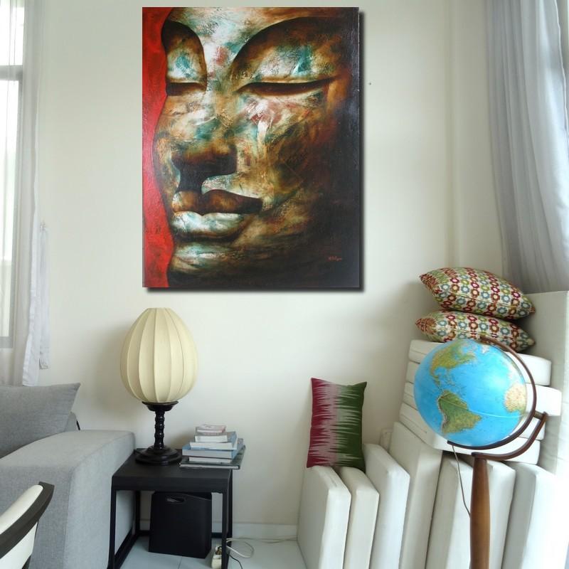 Grande peinture Bouddha- Idée deco hall d'entrée- 100x130 cm