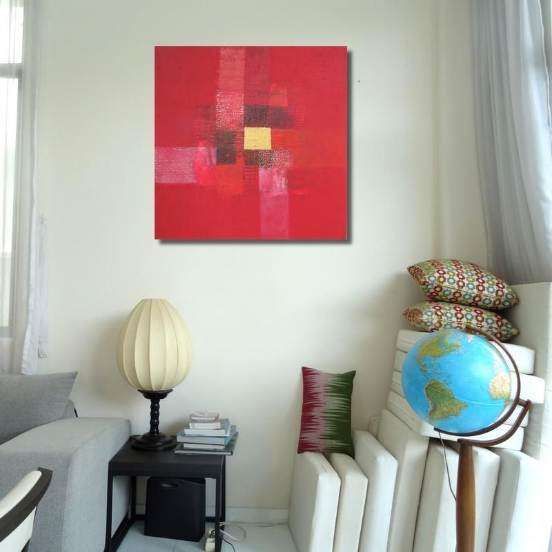 toile contemporaine carr e rouge 90x90 peintre suarsa. Black Bedroom Furniture Sets. Home Design Ideas