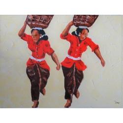 PEINTURE PERSONNAGES- femmes et paniers tressés-80x60 cm