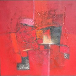 Tableau abstrait style contemporain à dominante rouge- 90x90 cm- Suwitra