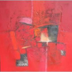 Tableau abstrait style contemporain à dominante rouge- 90x90 cm- Suwitra