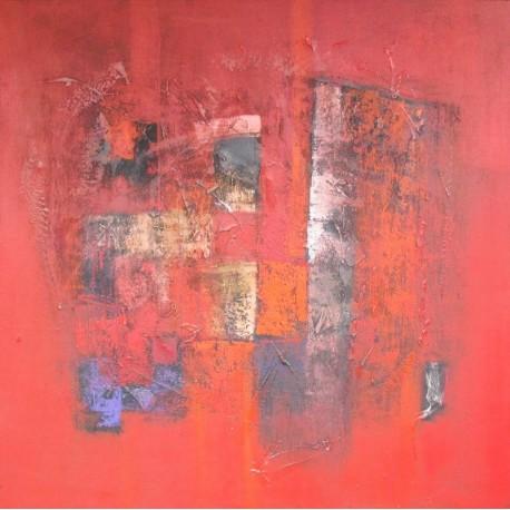Tableau carré abstrait style contemporain rouge- 130x130 cm- Suwitra