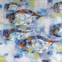 Tableau carré déco poissons- 100x100 cm