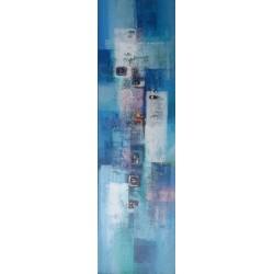 Tableau colonne verticale bleu-blanc- 140x40 cm