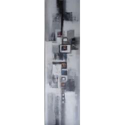 Tableau colonne verticale gris-blanc- 140x40 cm
