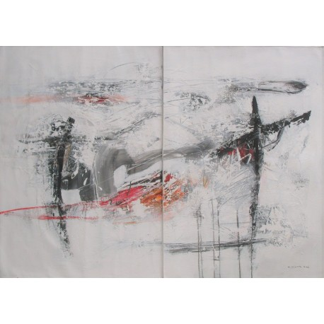 Tableau abstrait Diptyque ton blanc- 140x100 cm- Suwitra