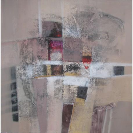 Tableau abstrait contemporain carré ton brun - 120x120 cm