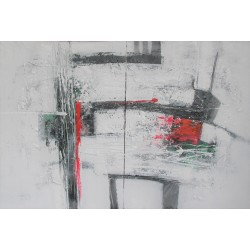 Tableau abstrait Diptyque ton blanc- 120x80 cm- Suwitra